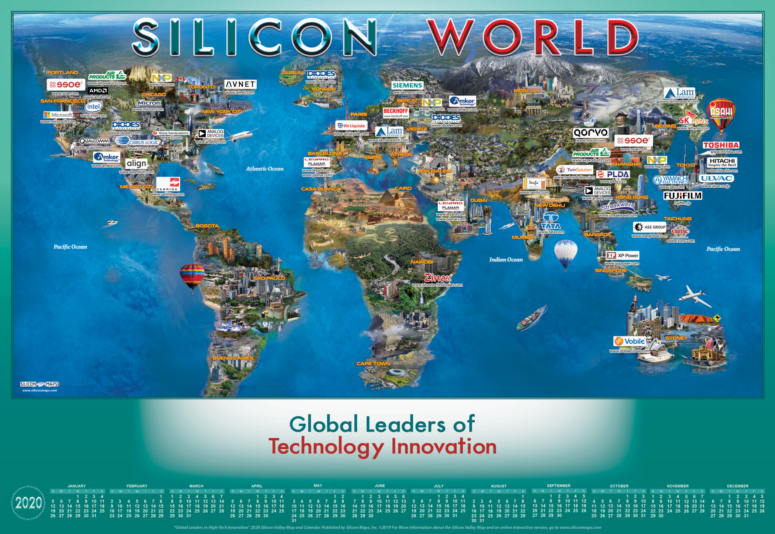Silicon World Map And Calendar Silicon Maps