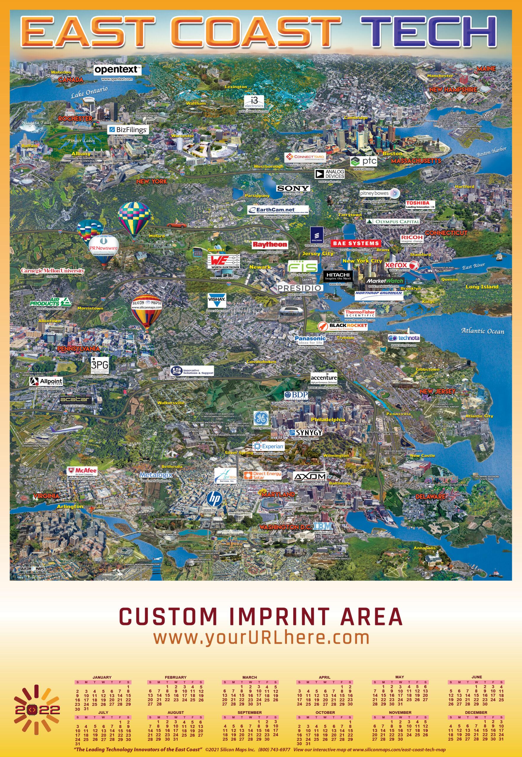 ECT22, East Coast Tech, Tech, Map, Business, Technology, hardware, software, companies